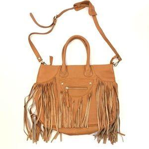 Tan Fringe Handbag or Shoulder Bag